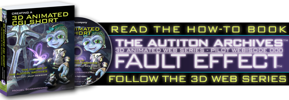 Read the How-to Book: Creating a 3D Animated CGI Short. Follow the 3D Web Series: The Autiton Archives - 3D Animated Web Series - Pilot Webisode 000 - Fault Effect
