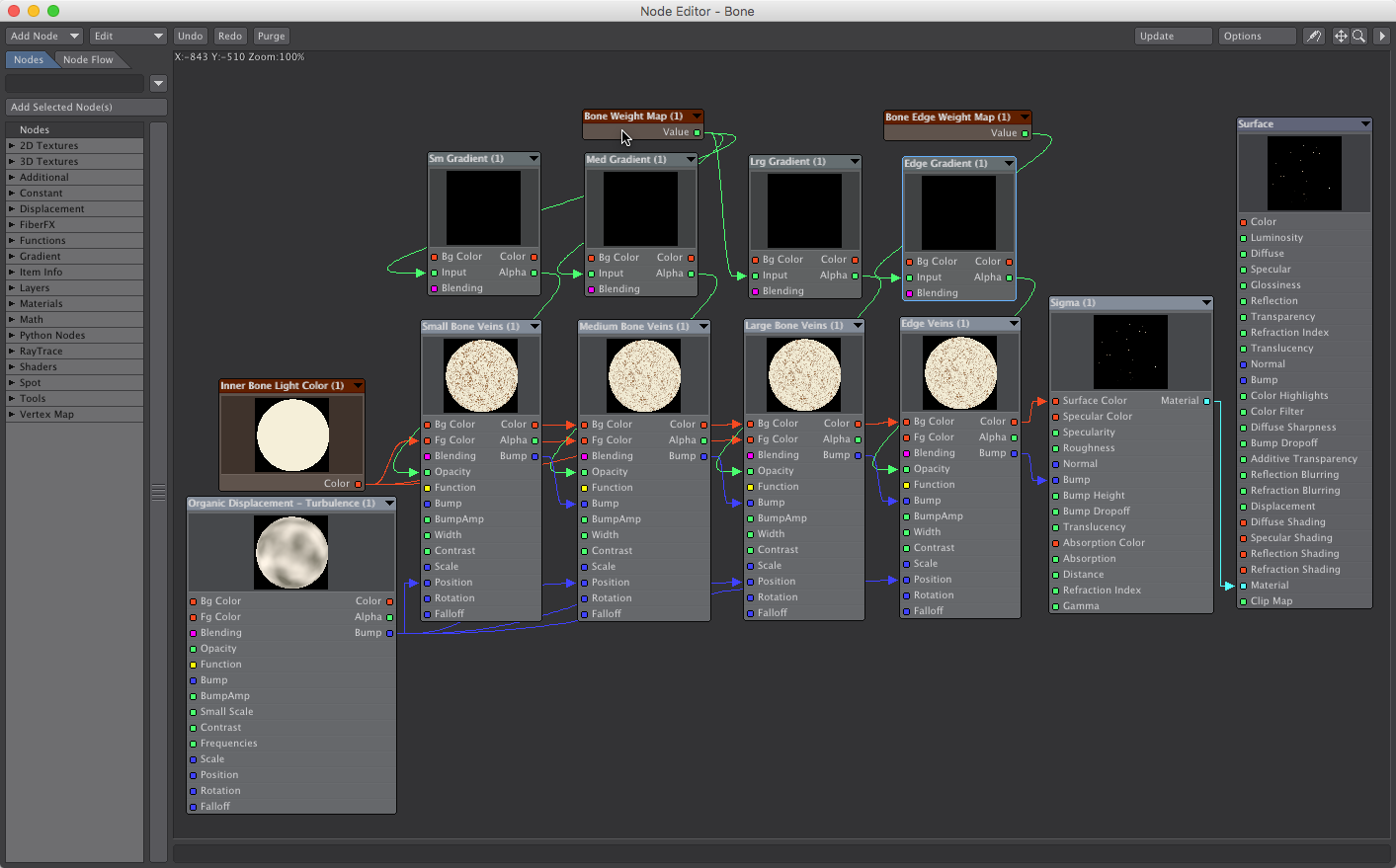 Bone Surface Texture Node Map - How to Create a Bone Texture with Weight Maps in LightWave 3D