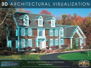 3D CGI Architectural Visualization Illustration - 3D House, Site Photo Background Composite - 3D Wireframe