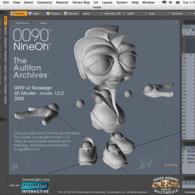 0090 v2 3D character model redesign using subpatch surfaces in modo