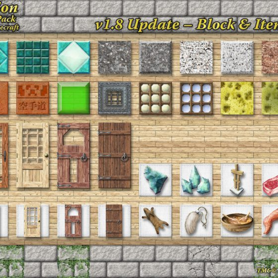 1.8 Update Block & Item Samples<br>Sensei & Son HD128 Minecraft Texture Pack