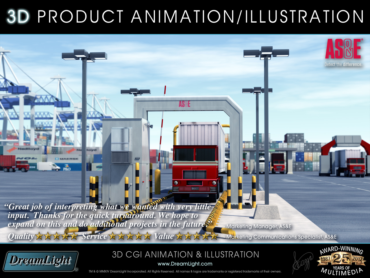 3D Product Illustration and Technology Animation of Truck Scanning X-ray Device