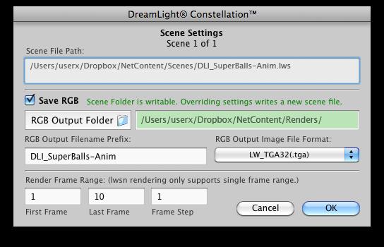 Setting Scene Settings on Mac OS X
