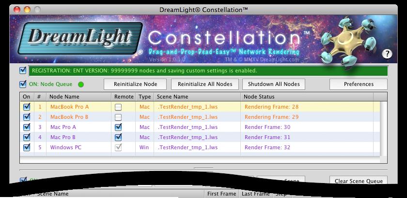 DreamLight Constellation Node Queue to control cross-platform LightWave 3D ScreamerNet LWSN network render nodes for Mac OS X and Windows.
