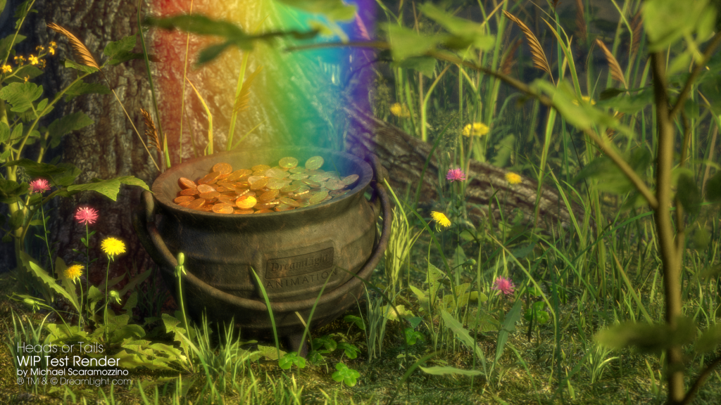 Gold Coins in a Pot of Gold at the end of the rainbow - WIP Work in progress