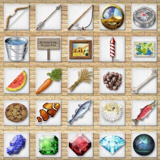 2D Item Textures<br> Senesi & Son HD128 Minecraft Texture Pack