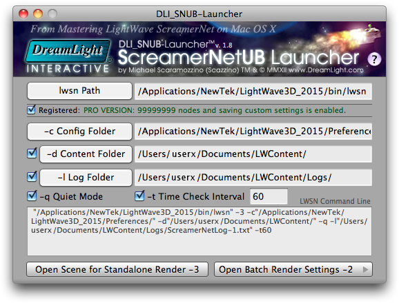 DLI SNUB Launcher General Settings