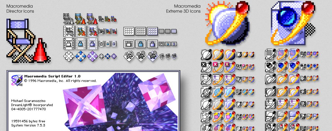 Software Splash & Icon Design - Macromedia Director Icons, Macromedia Extreme 3D Icons