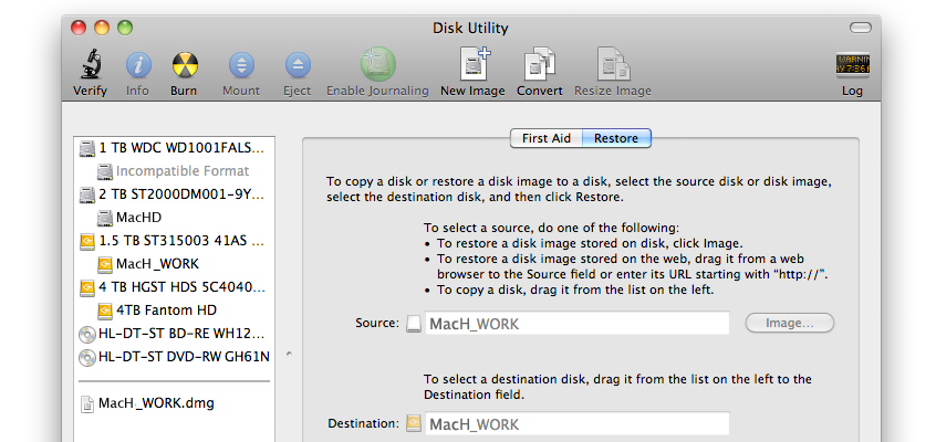 How to Restore a Disk from a Disk Image in Disk Utility if Unable to Scan Image