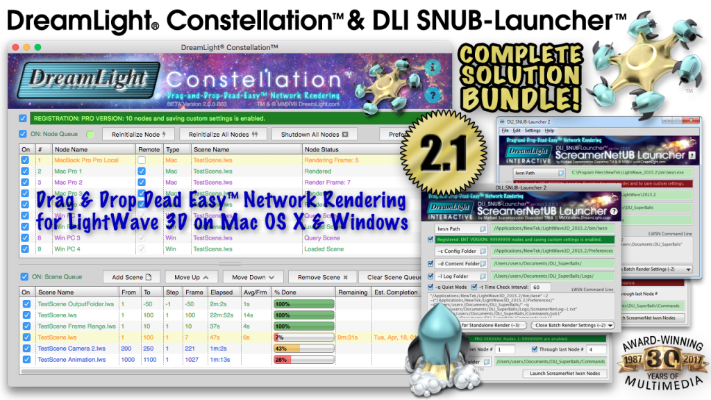 DreamLight Constellation 2.1 LightWave 3D Network Render Controller. Drag and drop dead easy ScreamerNet LWSN network rendering for Mac OS X and Windows.