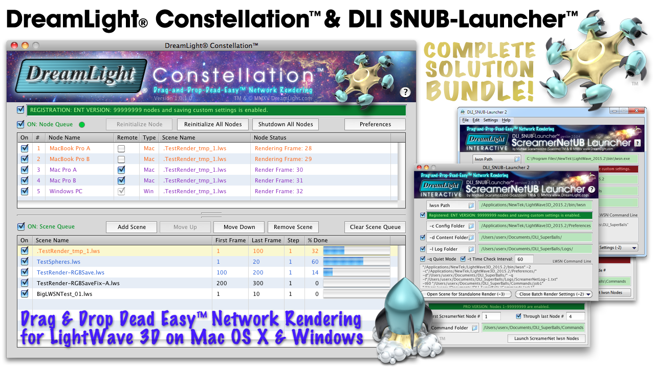 DreamLight Constellation LightWave 3D Network Render Controller. Drag and drop dead easy ScreamerNet LWSN network rendering for Mac OS X and Windows.