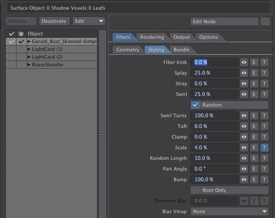 LightWave 3D Fiber FX Styling Tab