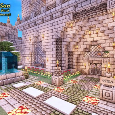 Castle Courtyard<br>Sensei & Son HD128 Minecraft Texture Pack