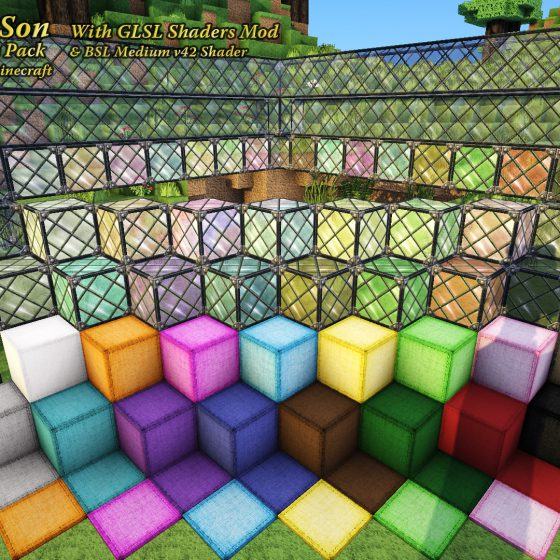 Glass & Wool Block Textures with GLSL<br>Sensei & Son HD128 Minecraft Texture Pack