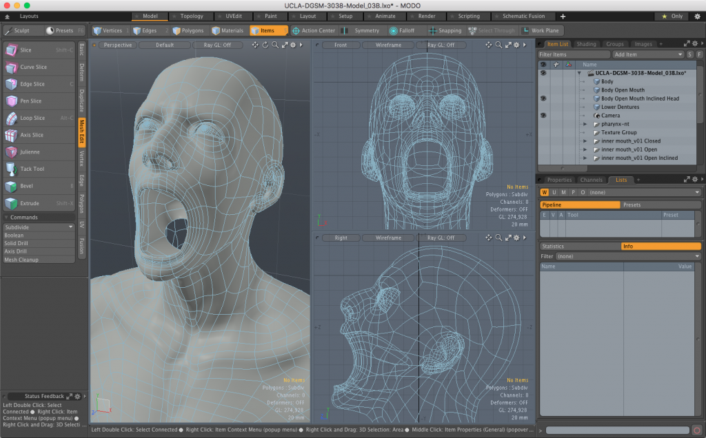 Head and Shoulders with inclined head and open mouth 3D model