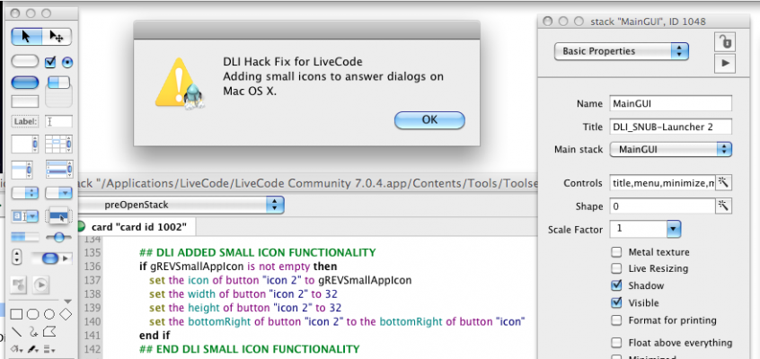Adding Mac OS X Small Icons to Answer Dialogs LiveCode Hack Fix