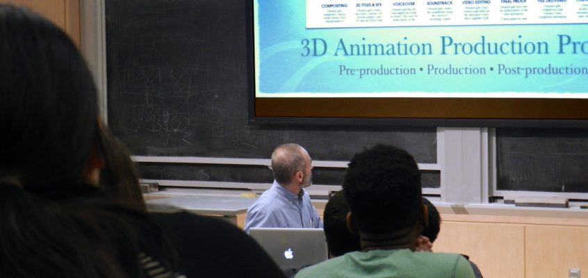 Michael Scaramozzino giving a 3D Animation Production Process lecture to the MIT Animation Group