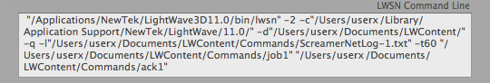 DLI_SNUB-Launcher LWSN Command Line Readout Field
