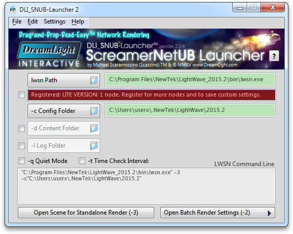 Windows: DLI_SNUB-Launcher 2 FREE LITE Version Defaults
