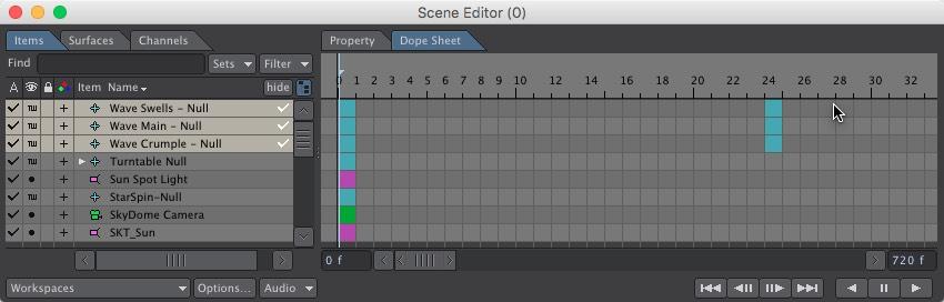 Scene Editor Wave Motion Null Keyframes