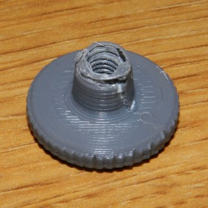 Fourth Version 3D Print of Thumb Nut Almost Complete