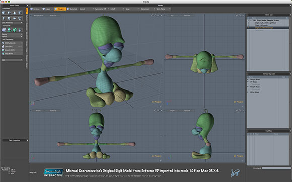 Michael Scaramozzino's Original Digit Model from Extreme 3D Imported into modo 1.0.3 on Mac OS X.4.