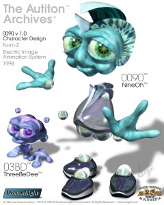 0090 + 03BD v 1.0 Character Design Models - Form-Z + Electric Image Animation System