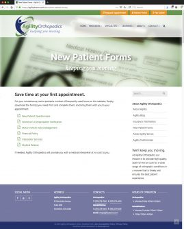 New Wordpress Website New Patient Forms Content