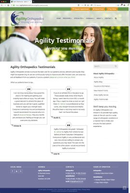 New Wordpress Website Testimonials Content