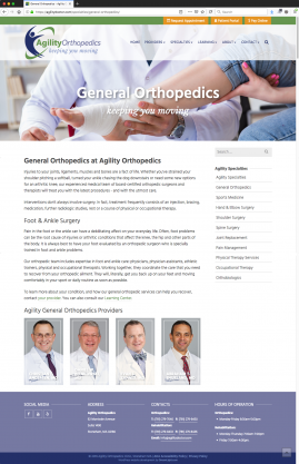 New Wordpress Website General Orthopedics Content