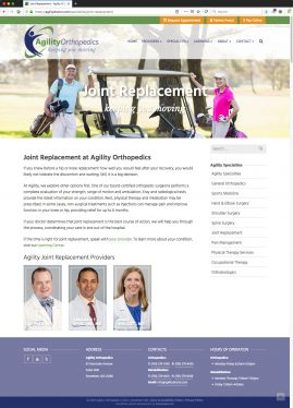 New Wordpress Website Joint Replacement Content
