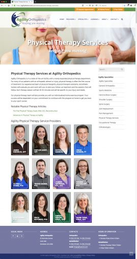 New Wordpress Website Physical Therapy Content