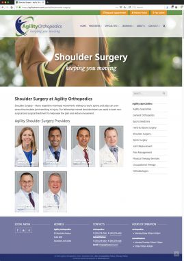 New Wordpress Website Shoulder Surgery Content