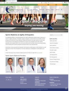 New Wordpress Website Sports Medicine Content