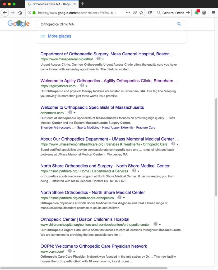 Google SEO Results - General Orthopedics MA - Search Engine Optimization
