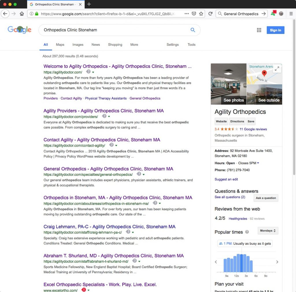 Google SEO Results - General Orthopedics Stoneham - Search Engine Optimization