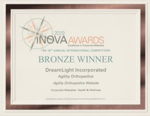 Bronze Winner - DreamLight Incorporated - Agility Orthopedics Website - iNOVA 2019 AWARDS