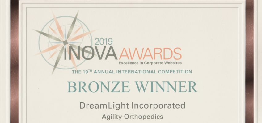 Bronze Winner - DreamLight Incorporated - Agility Orthopedics Website - iNOVA 2019 AWARDS