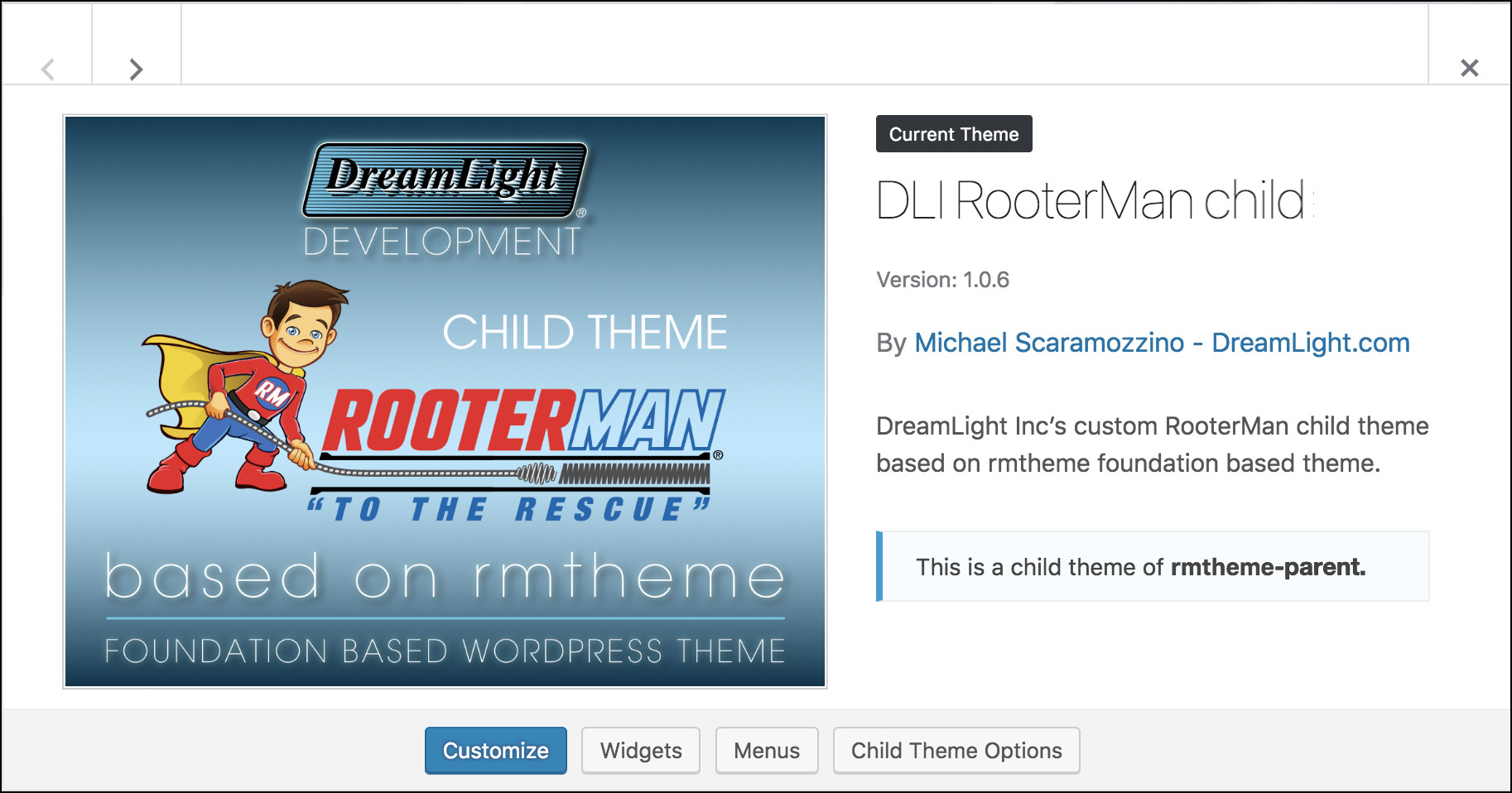 DLI RooterMan Child Theme