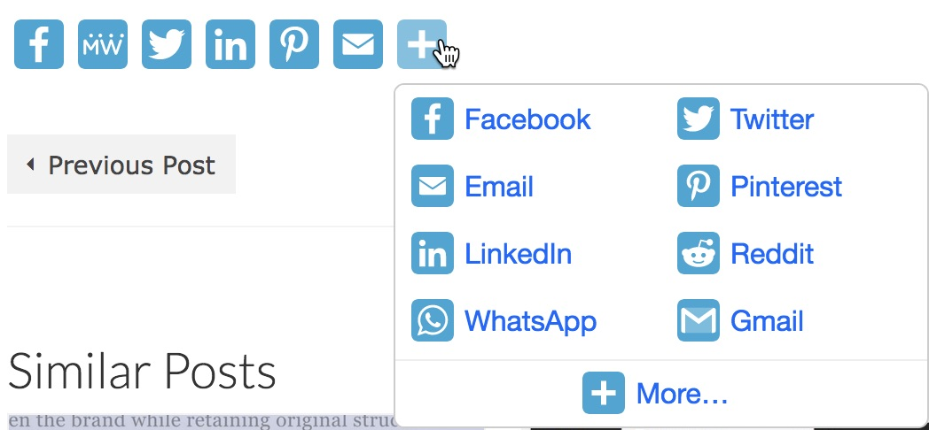 AddToAny Share Buttons PopUp Menu