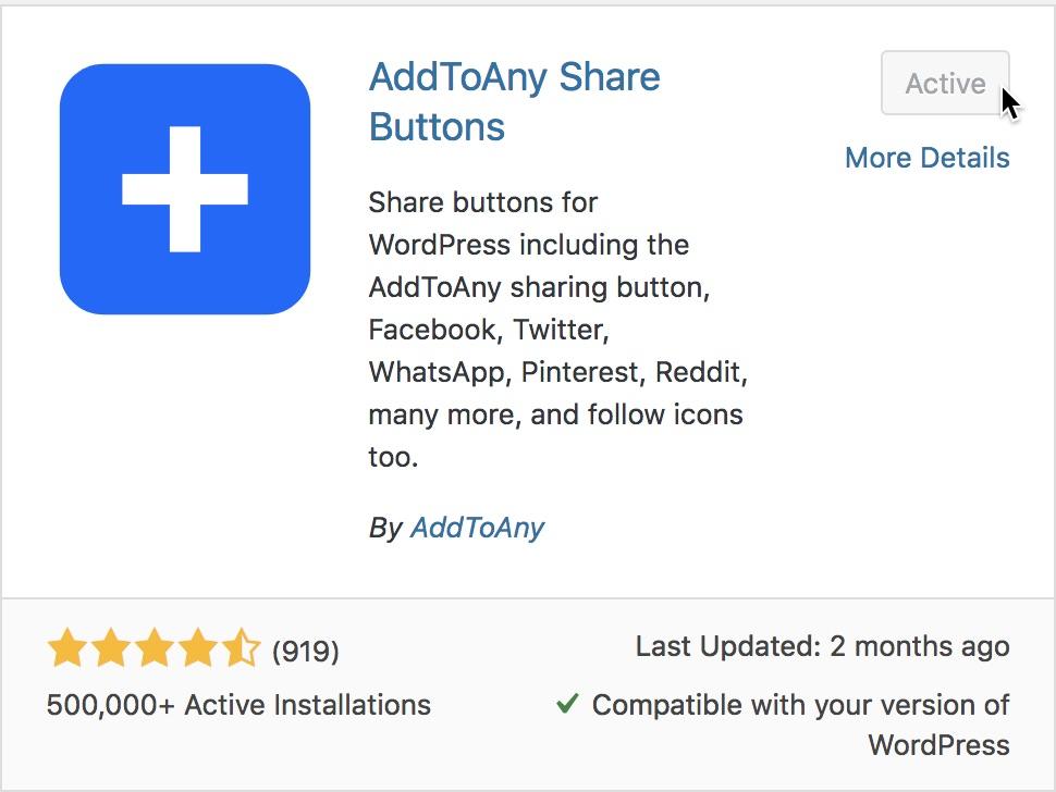 Install AddToAny Plugin