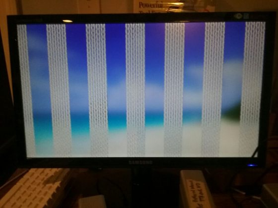 External monitor with gray bars when done booting in safe mode.