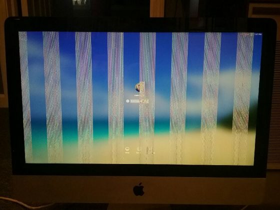 iMac monitor with gray bars when finished booting in safe mode.