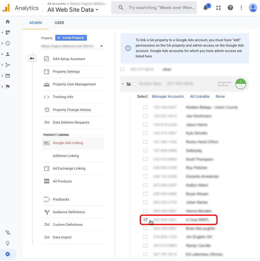 Select Google Ads account to Link to Google Analytics account