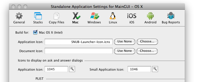 LiveCode Standalone Application Settings