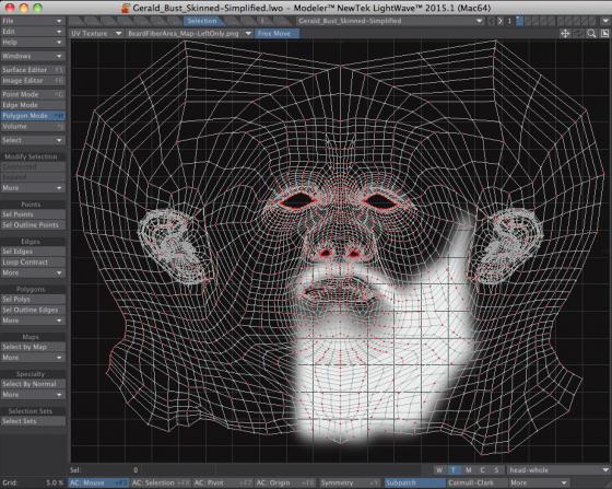 Beard Area UV Map for LightWave 3D Fiber FX
