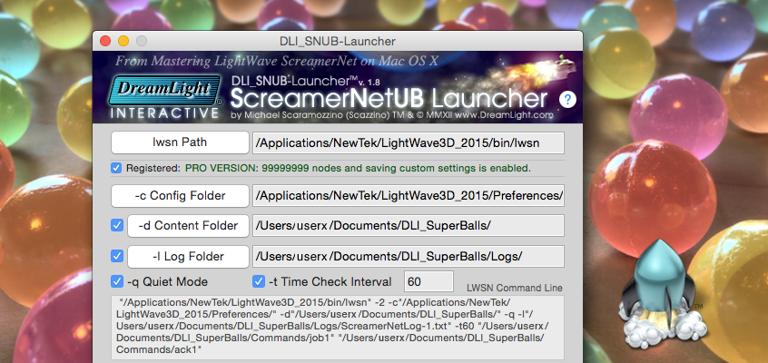 DLI SNUB Launcher Updated for LightWave 3D 2015, 3D Logo Icon, SuperBalls Benchmark Scene