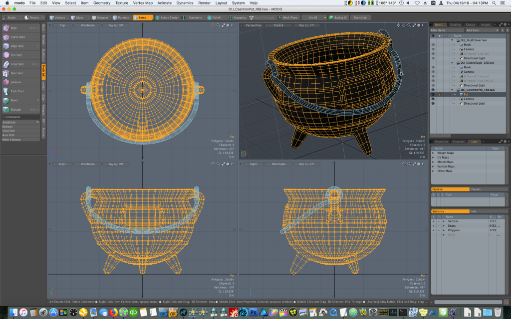 Modeling an iron cauldron pot of gold in Modo