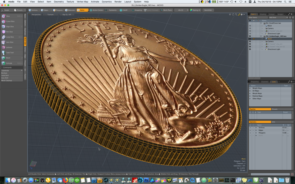 Modeling a coin reeds rigdes in Modo - how to animate falling coins with Bullet Dynamics