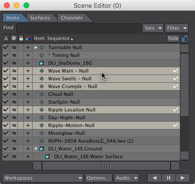 Wave Control Nulls in the Scene Editor